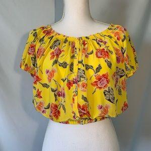 50% OFFJoie 100% silk floral crop top off shoulder